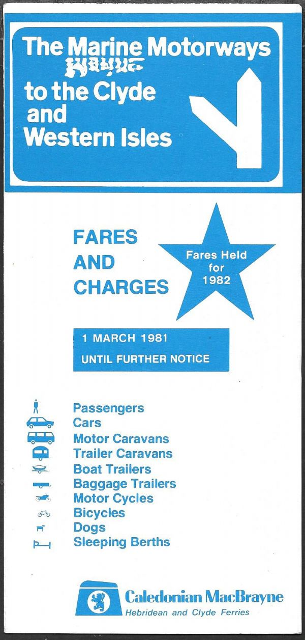 Caledonian MacBrayne - Fares and Charges 1981/3/1 (2/82) - leaflet